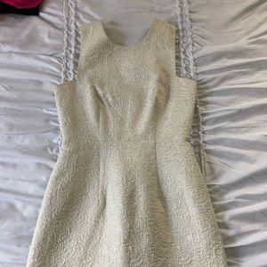 Off white floral print formal dress